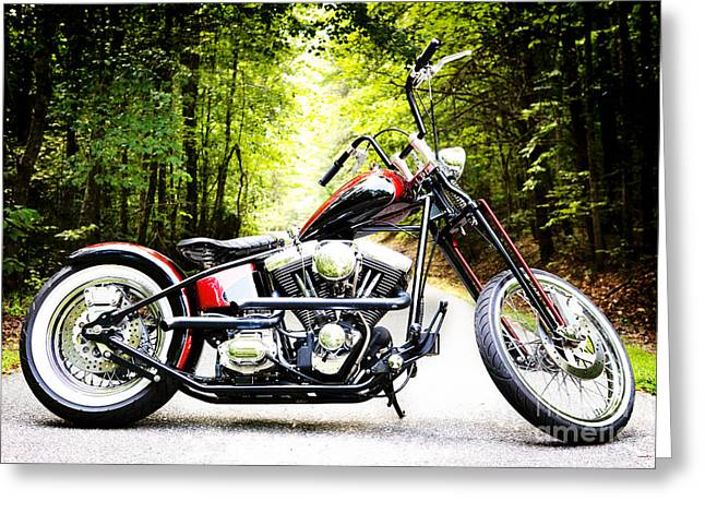 Kim Photographs Greeting Cards - Bobber Harley Davidson Custom Motorcycle Greeting Card by Kim Fearheiley