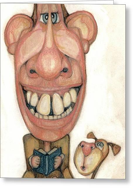 Humor Pastels Greeting Cards - Bobblehead No 42 Greeting Card by Edward Ruth