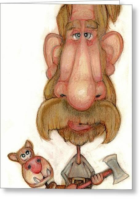 Humor Pastels Greeting Cards - Bobblehead No 43 Greeting Card by Edward Ruth