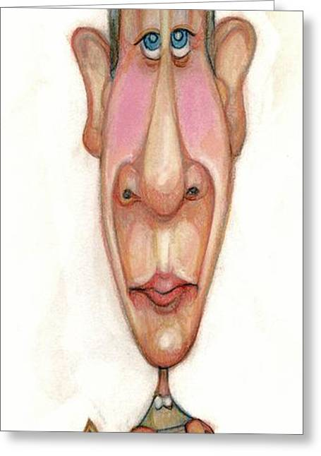 Disdain Pastels Greeting Cards - Bobblehead No 64 Greeting Card by Edward Ruth