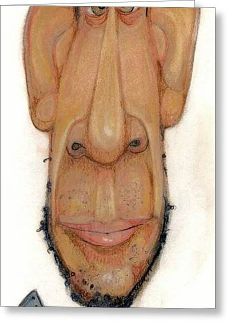 African-americans Pastels Greeting Cards - Bobblehead No 66 Greeting Card by Edward Ruth
