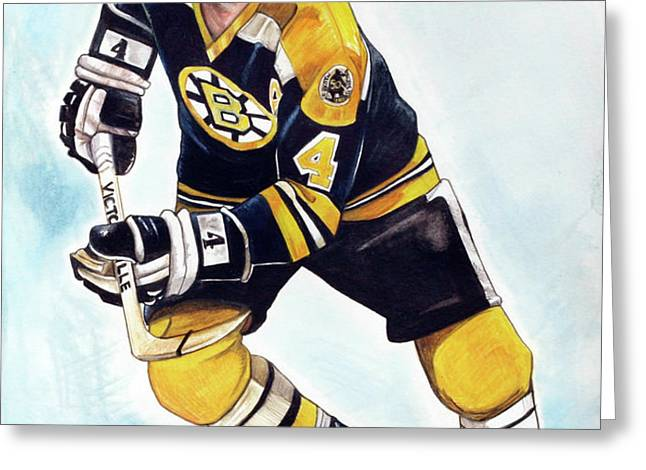 Bobby Orr Greeting Card by Dave Olsen