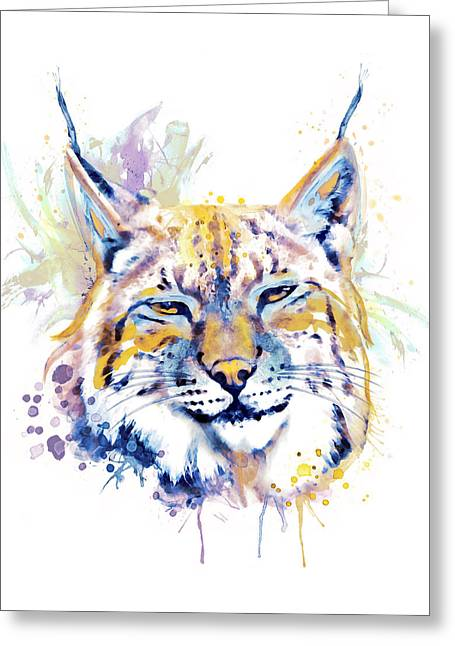 Bobcat Head Greeting Card by Marian Voicu