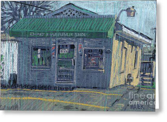 Barber Shop Greeting Cards - Bobs Barber Shop Greeting Card by Donald Maier