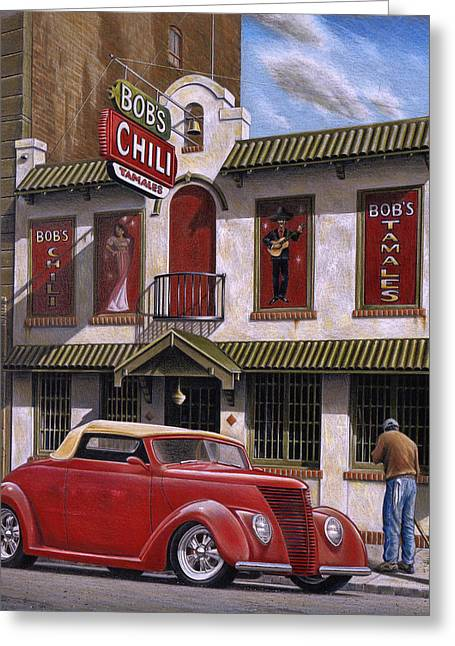 Scene Greeting Cards - Bobs Chili Parlor Greeting Card by Craig Shillam