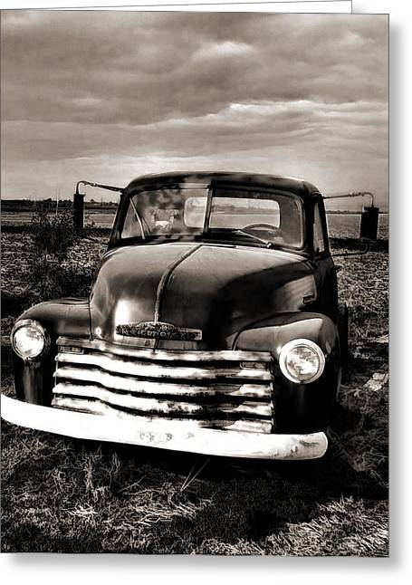 Bob's Truck In B/w Greeting Card by Julie Dant