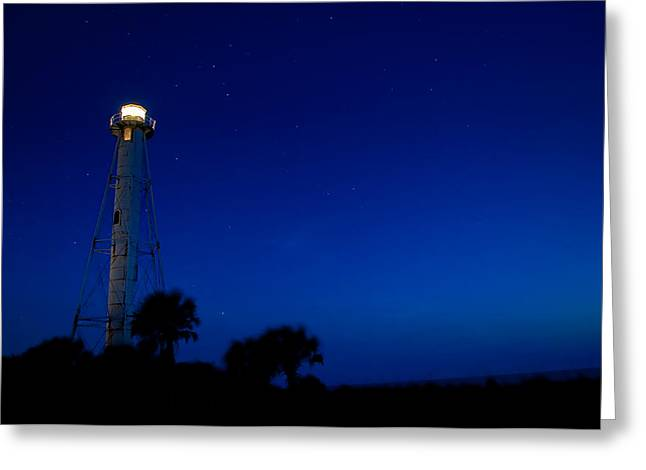 Boca Grande Greeting Cards - Boca Grande Lighthouse on a Starry Night Greeting Card by Rich Leighton