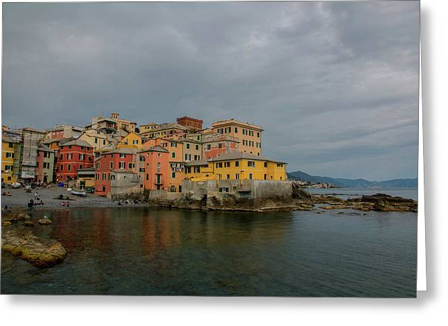 Boccadasse Bay, Genoa, Italy Greeting Card by Cesare Palma