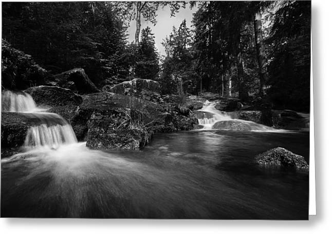 Mystical Landscape Greeting Cards - Bodefall in black and white Greeting Card by Andreas Levi