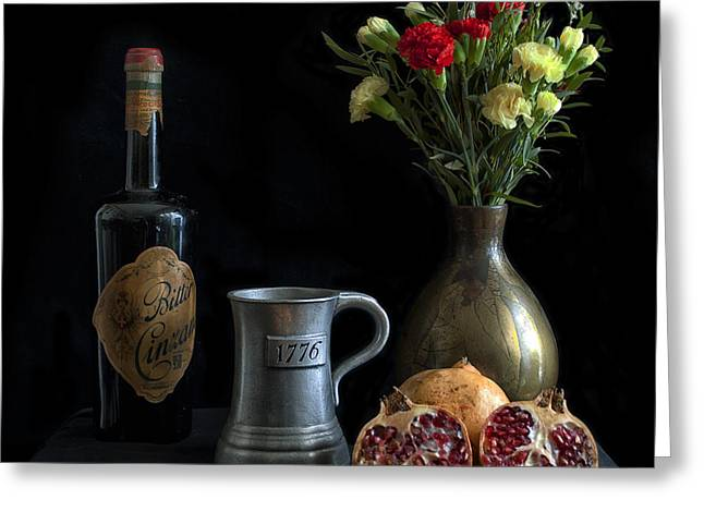 Wine Bottle Paining Photographs Greeting Cards - Bodegon Greeting Card by Hans Wolfgang Muller Leg