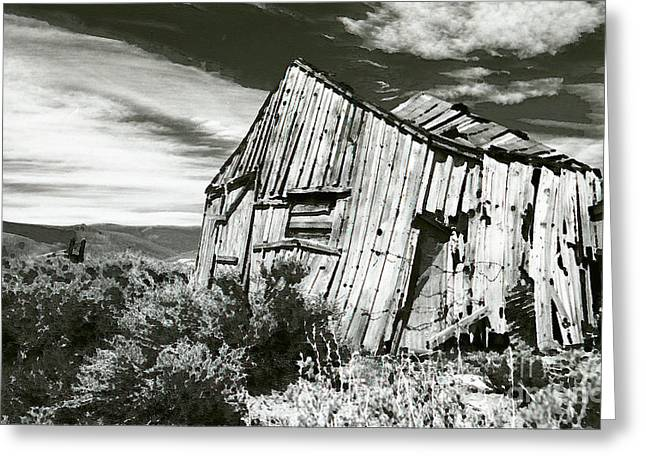 Western Digital Art Greeting Cards - Bodie Barn Greeting Card by Norman  Andrus
