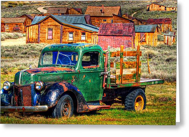 Eastern Sierra Greeting Cards - Bodie Ghost Town Green Truck Greeting Card by Scott McGuire