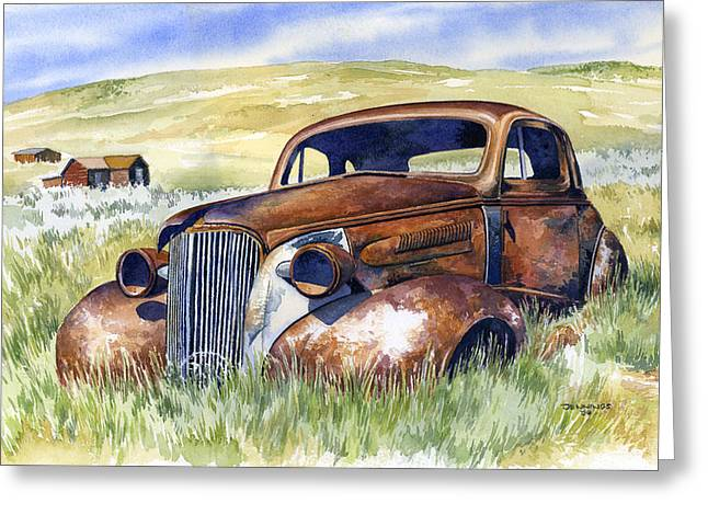Rusted Cars Paintings Greeting Cards - Bodie Hot Rod Greeting Card by Mark Jennings
