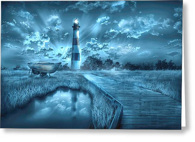 Surreal Images Greeting Cards - Bodie Island Lighthouse 2 Greeting Card by MB Art factory