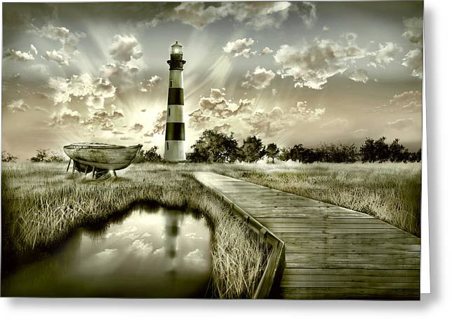 Surreal Images Greeting Cards - Bodie Island Lighthouse 3 Greeting Card by MB Art factory