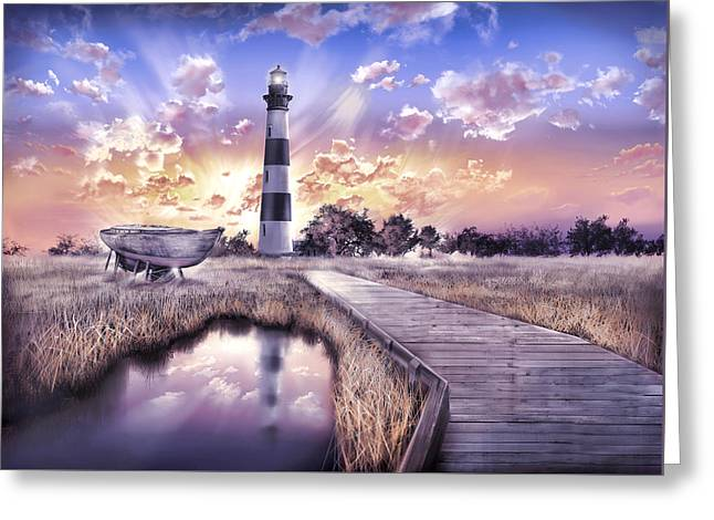 Surreal Images Greeting Cards - Bodie Island Lighthouse 4 Greeting Card by MB Art factory