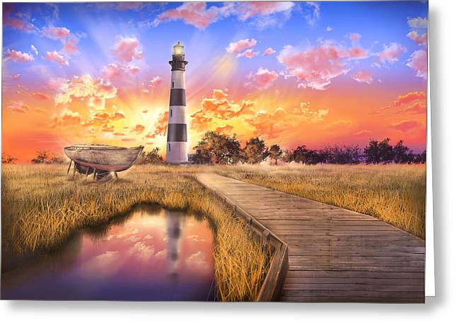 Surreal Images Greeting Cards - Bodie Island Lighthouse Greeting Card by MB Art factory
