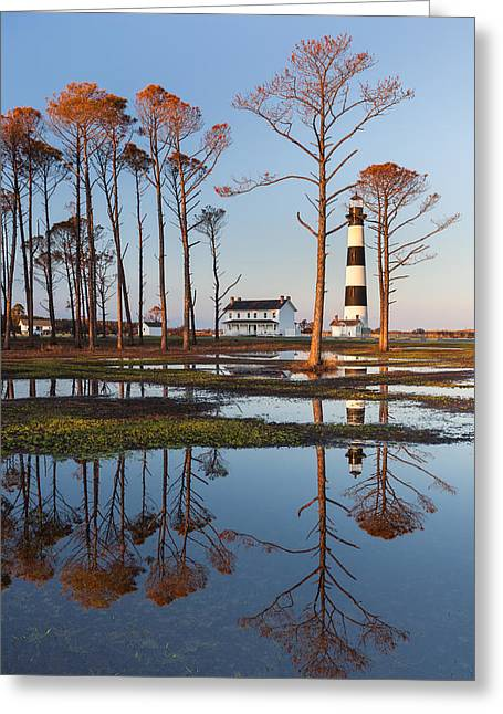 Barrier Island Greeting Cards - Bodie Island Lighthouse OBX Golden Sunset Reflections Greeting Card by Mark VanDyke