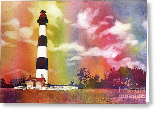 Watercolor Society Greeting Cards - Bodie Island Sunset- North Carolina Outer Banks  Greeting Card by Ryan Fox