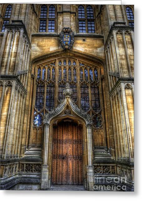 University School Greeting Cards - Bodleian Library Door - Oxford Greeting Card by Yhun Suarez