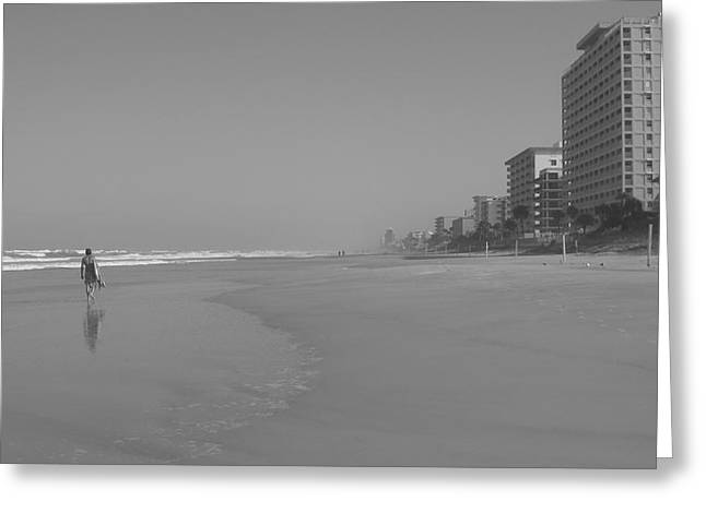 Body Boarding In Black And White Greeting Card by Mandy Shupp