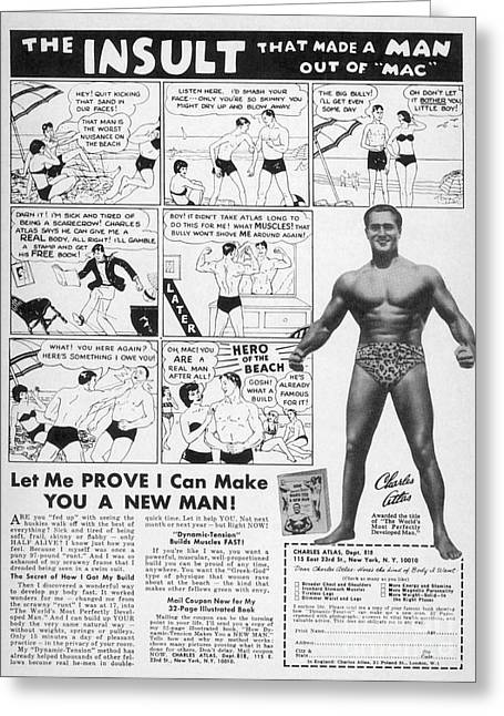 Strong America Greeting Cards - Body-building Ad, 1962 Greeting Card by Granger