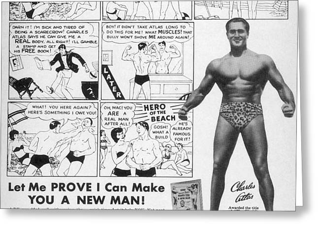BODY-BUILDING AD, 1962 Greeting Card by Granger