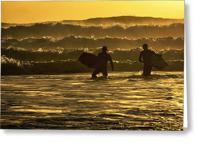 Kodiak Island Greeting Cards - Body Surfers On The Coast Of Kodiak Greeting Card by Marion Owen