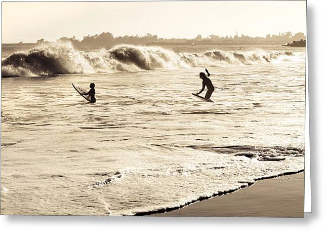 Santa Cruz Sailboat Greeting Cards - Body Surfing Family Greeting Card by Marilyn Hunt