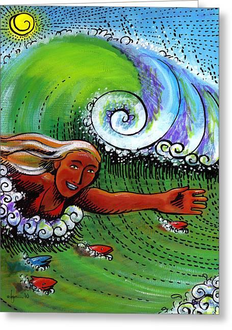 Angela Treat Lyon Greeting Cards - Body Surfing with My Buddies Greeting Card by Angela Treat Lyon