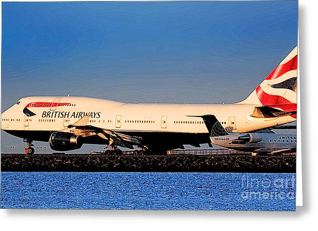 Boeing 747-436 British Airways Baw At Sfo Ready For Take-off Greeting Card by Wernher Krutein