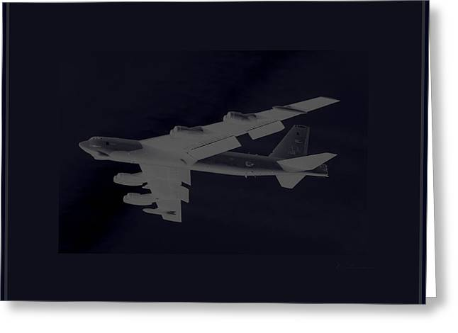 Boeing B-52 Stratofortress Taking Off On A Dangerous Night Mission Tinker Afb 3 Contrasting Borders Greeting Card by L Brown