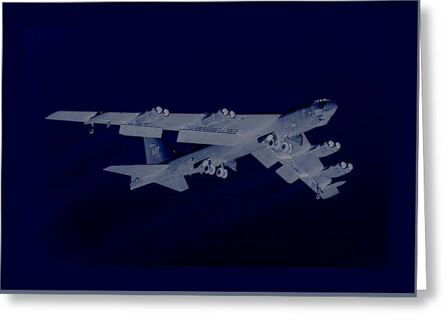 Boeing B-52 Stratofortress Taking Off On A Dangerous Night Mission With Matching Border Greeting Card by L Brown