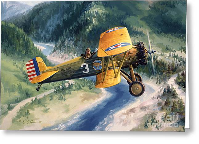 Flight Drawings Greeting Cards - Boeing Country Greeting Card by Randy Green