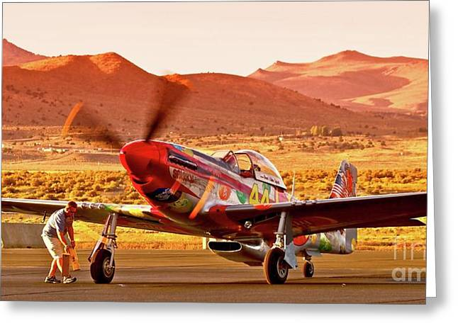 Reno Air Races Greeting Cards - Boeing North American P-51D Sparky at Sunset in the Valley of Speed Reno Air Races 2010 Greeting Card by Gus McCrea