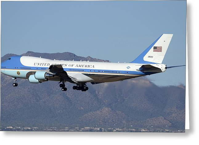 747 Greeting Cards - Boeing VC-25A 82-8000 Air Force One Phoenix-Mesa Gateway Airport January 25 2012 Greeting Card by Brian Lockett