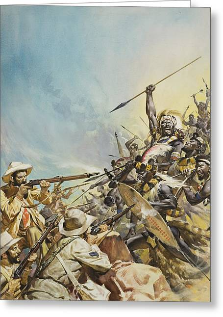 Sun Hat Greeting Cards - Boers Fighting Natives Greeting Card by James Edwin McConnell