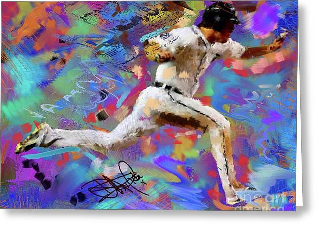 Baseball Paintings Greeting Cards - Boesch Rounds Third Greeting Card by Donald Pavlica