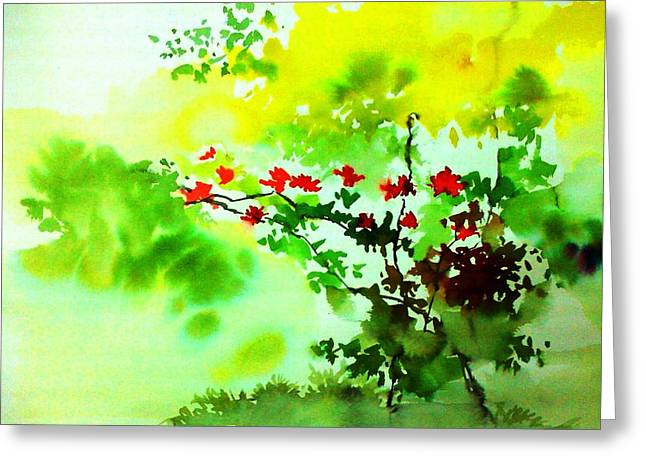Spring Scenes Mixed Media Greeting Cards - Boganwel Greeting Card by Anil Nene