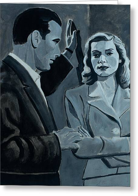 Bacall Greeting Cards - Bogie and Bacall Greeting Card by Frank Strasser