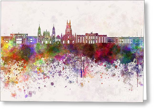 Bogota Skyline In Watercolor Background V2 Greeting Card by Pablo Romero