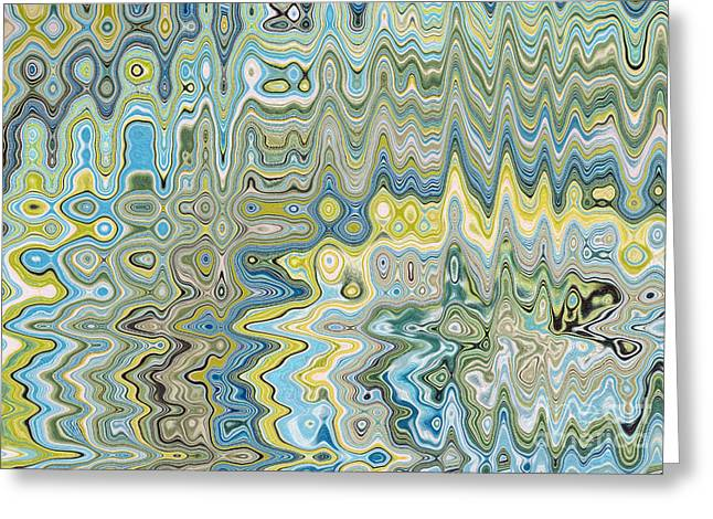 Abstract Digital Tapestries - Textiles Greeting Cards - Bohemia Aqua Greeting Card by FabricWorks Studio