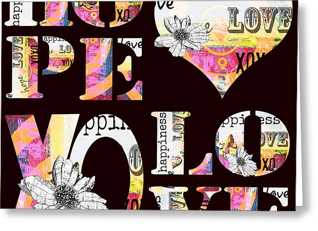 Juvenile Wall Decor Greeting Cards - BOHO WORD ART - BOHEMIAN Typography XO Love Art Print Greeting Card by ArtyZen Studios - ArtyZen Home