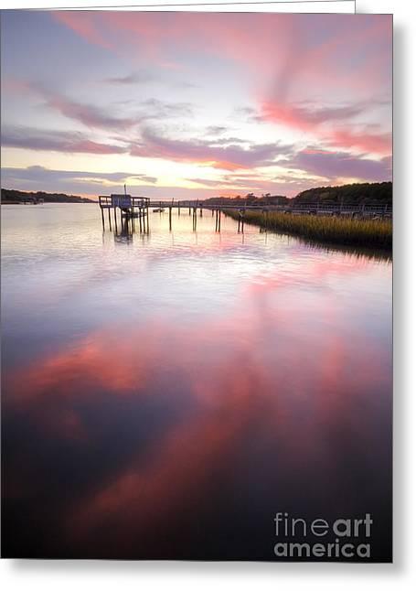 Charleston Greeting Cards - Bohicket Sunset Charleston Lowcountry Greeting Card by Dustin K Ryan