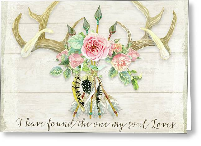 Boho Love - Deer Antlers Floral Inspirational Greeting Card by Audrey Jeanne Roberts