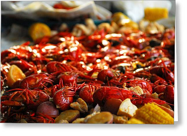 Crawfish Greeting Cards - Boiled Crawfish Southern Style Greeting Card by Wayne Archer