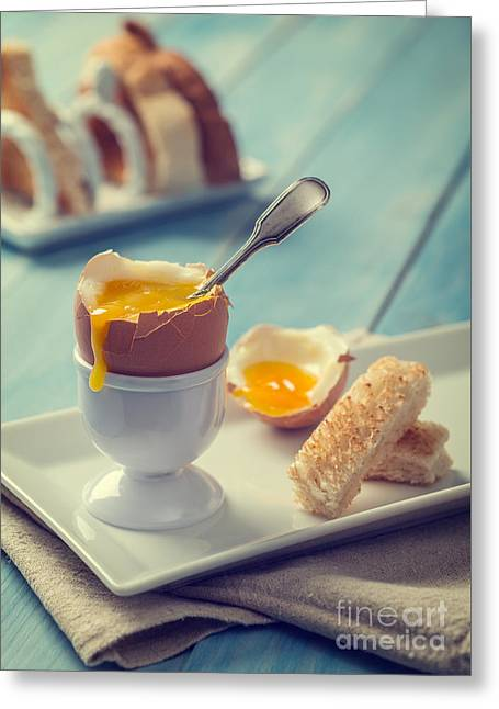 Golden Egg Greeting Cards - Boiled Egg With Spoon Greeting Card by Amanda And Christopher Elwell