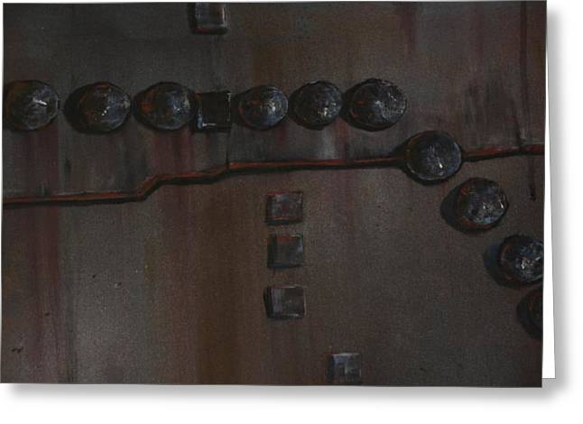 Rivets Paintings Greeting Cards - Boiler Plate 1 Greeting Card by Steven Holder