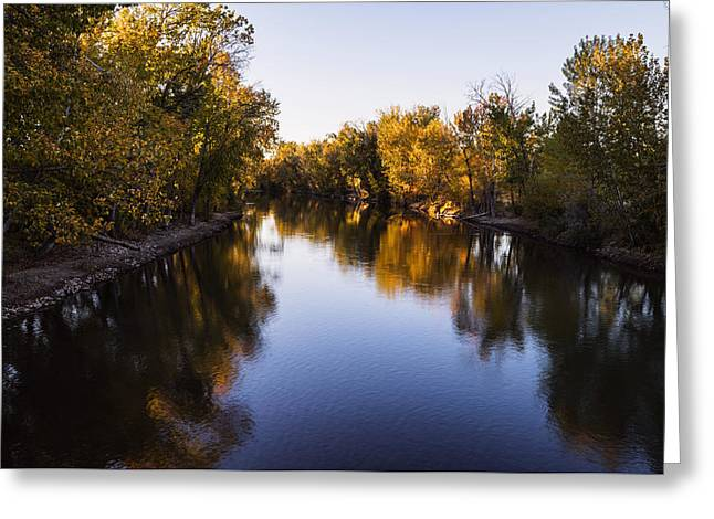Usa Photographs Greeting Cards - Boise River Autumn evening in Boise Idaho Greeting Card by Vishwanath Bhat
