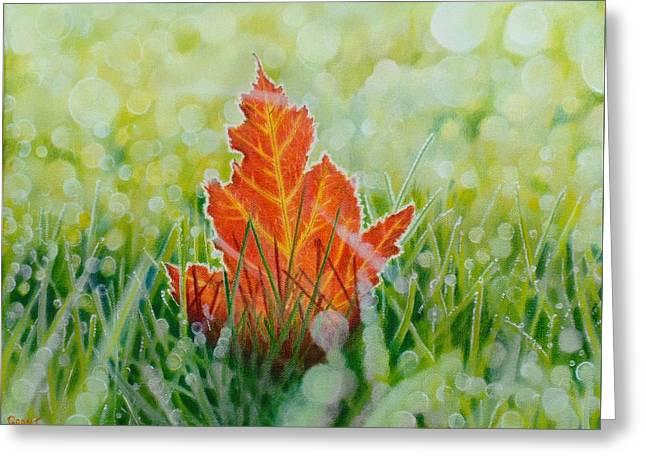 Bokeh Paintings Greeting Cards - Bokeh - Fallen Leaf Greeting Card by Grant Ham